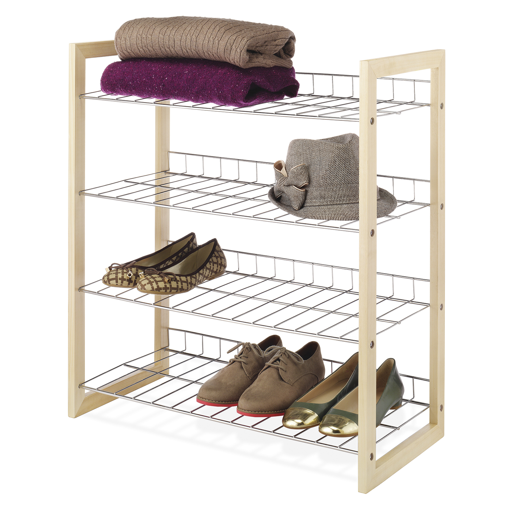 Merveilleux Whitmor 4 Tier Closet Shelf Wood U0026 Chrome