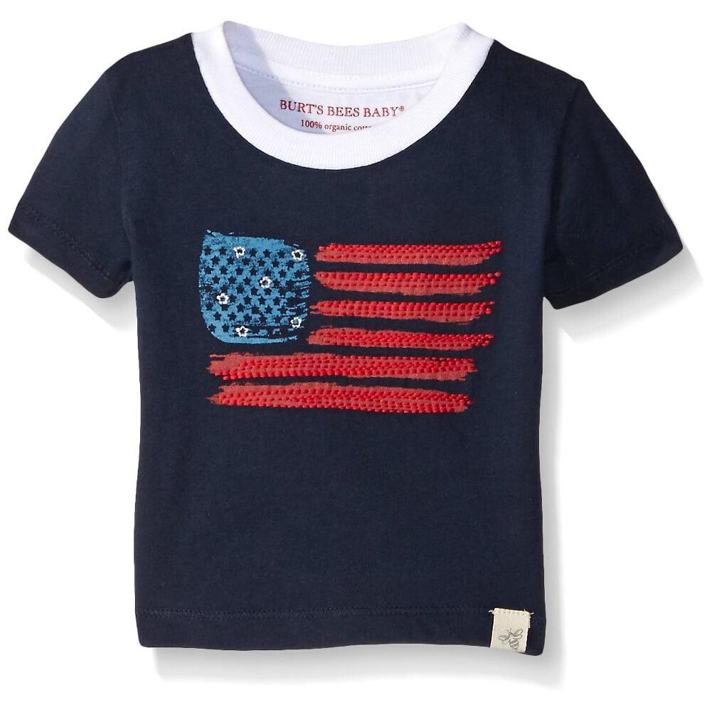 Burt's Bees Baby Boys American Flag Tee Midnight