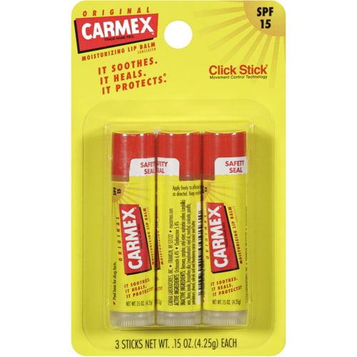 Carmex Original Click Stick Moisturizing SPF 15 Lip Balm, 3ct
