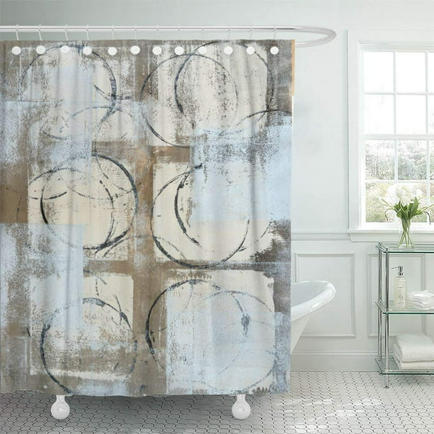 Pknmt Brown Modern Grey Beige Abstract, Shower Curtains Gray And Beige