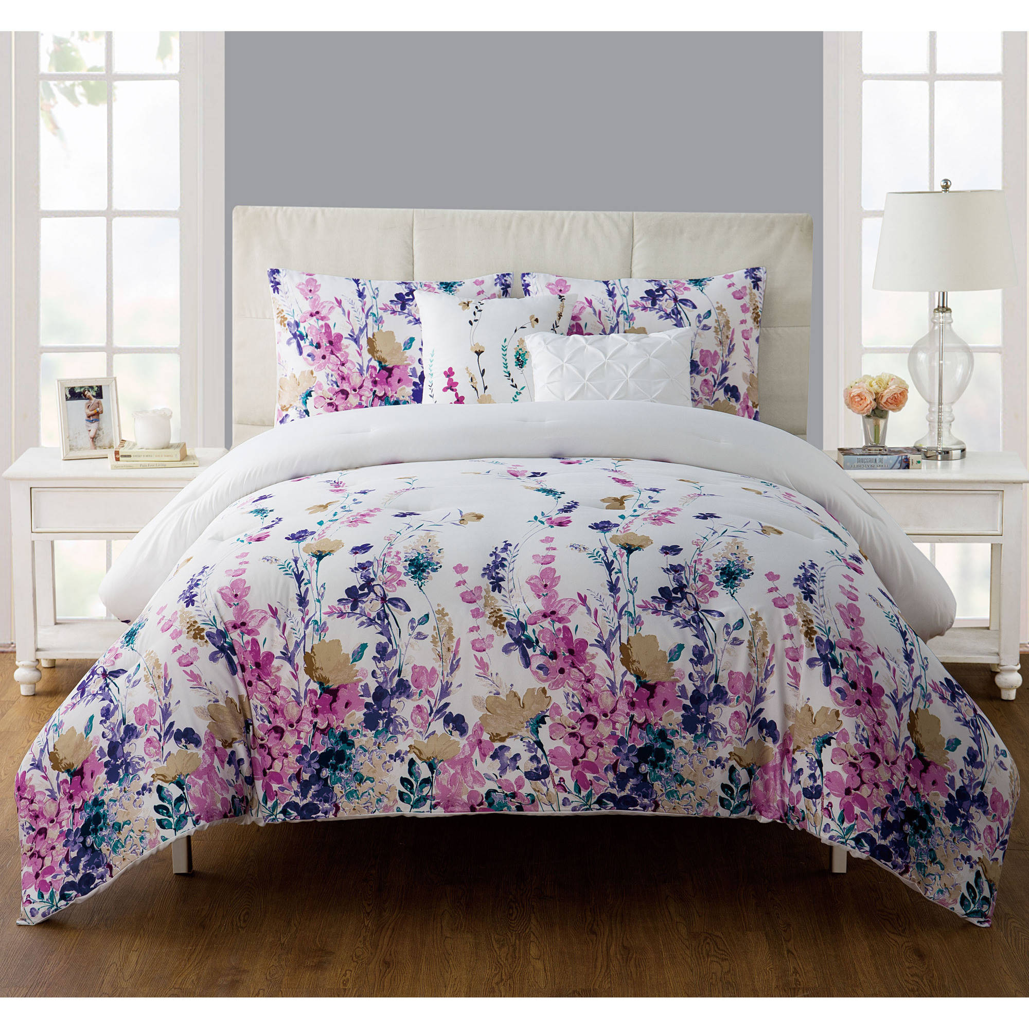 Vcny Home Misha Multi Colored Floral Bedding Comforter Set