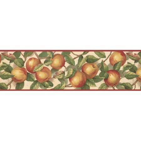 York Wallcoverings 15' L x 7'' W Apple on Branches Retro Design Wallpaper (Apple Wall Border)