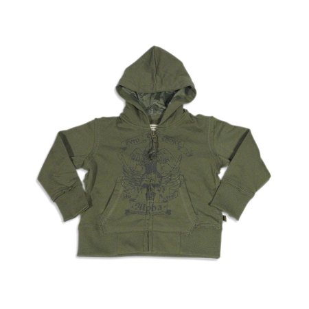 Alpha Industries - Little Boys Long Sleeve Zip Hoodie Sweatshirt Jacket GREEN / 4T