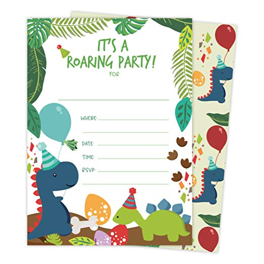 Dinosaur Happy Birthday Invitations Invite Cards 25 Count With Envelopes Seal Stickers Vinyl Boys Girls Kids Party