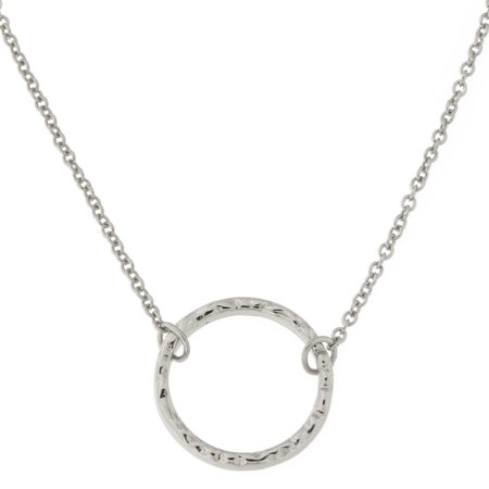 Sterling Silver Hammered Open Circle Pendant Necklace