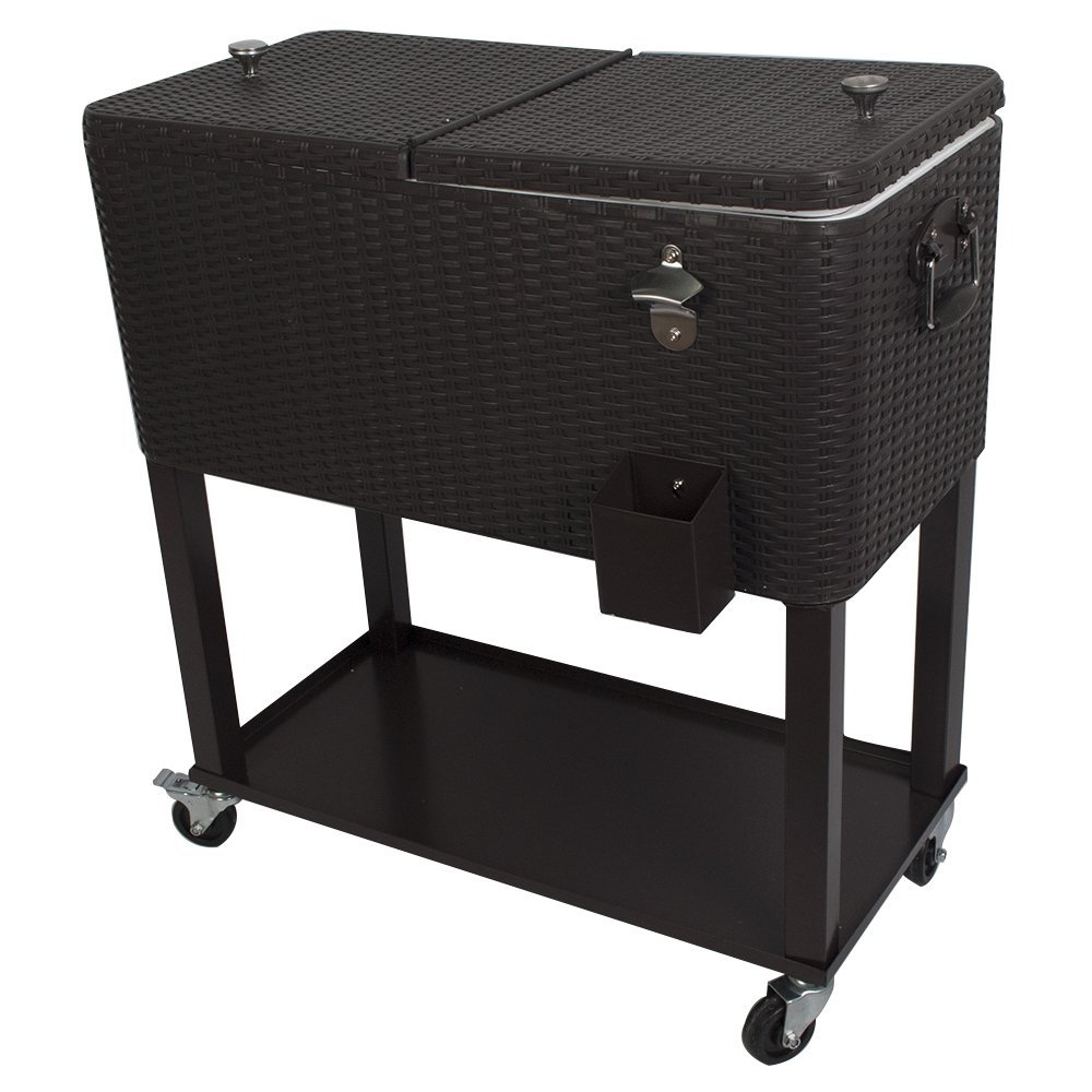 HIO 80 Qt Outdoor Patio Cooler Table On Wheels, with Shel...