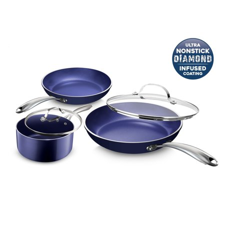 Granite Stone Pots and Pans Set, 5 Piece Cookware with Ultra Nonstick 100% PFOA Free Coating