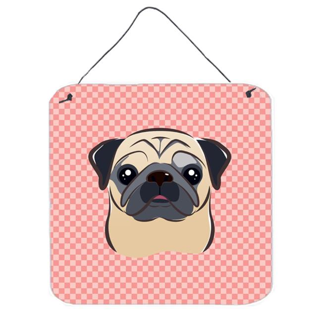 Checkerboard Pink Fawn Pug Aluminum Metal Wall Or Door Hanging Prints, 6 x 6 In.