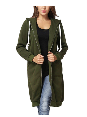 Newstar Zip Up Hoodies Jackets for Women, Outerwear Tops Front Pockets Sweatshirt Coats for Women, N0248GS Long Sleeve Jackets for Women, (Green, S-2XL)
