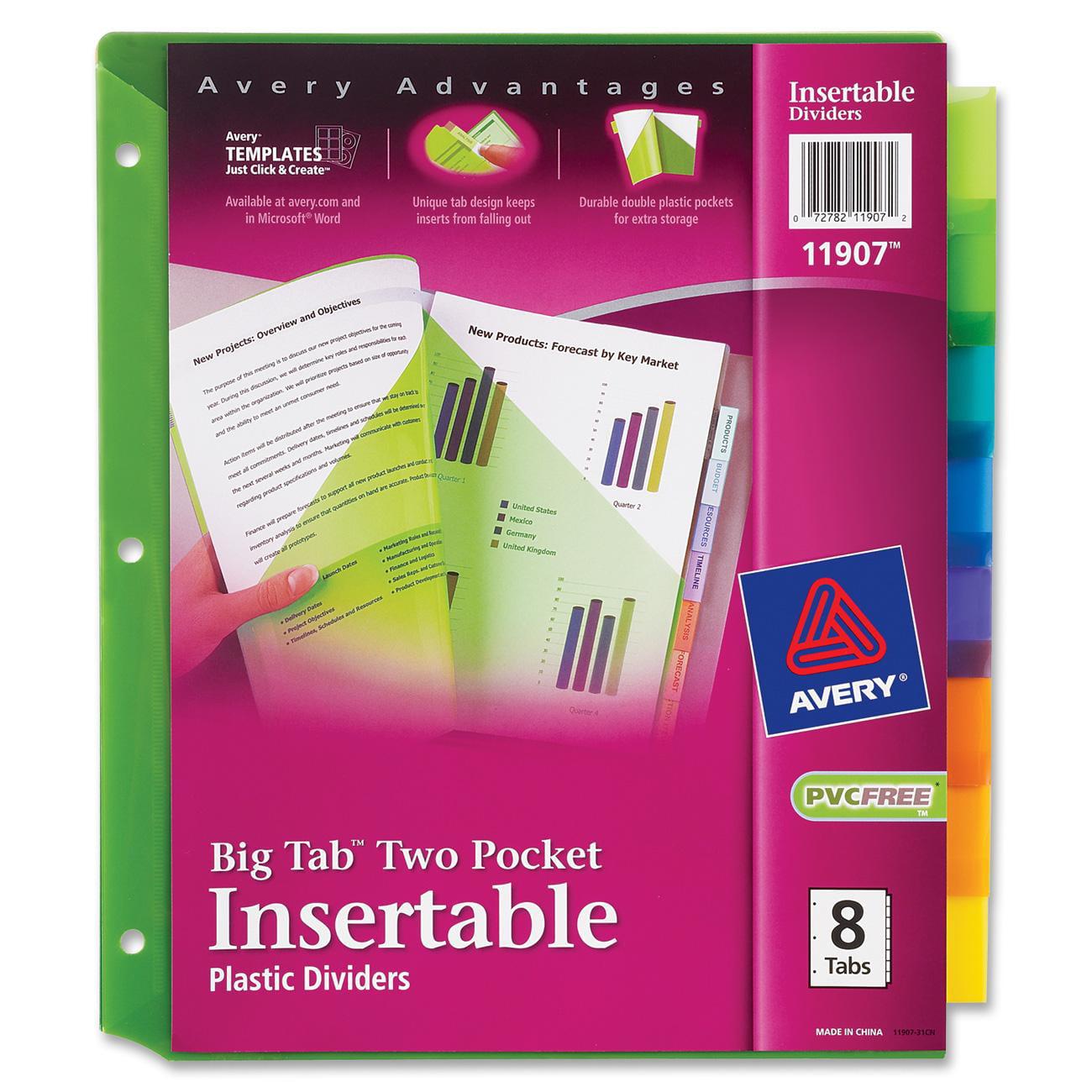 Avery Big Tab Insertable Two-Pocket Plastic Dividers, 8-Tab, Multicolor (11907)