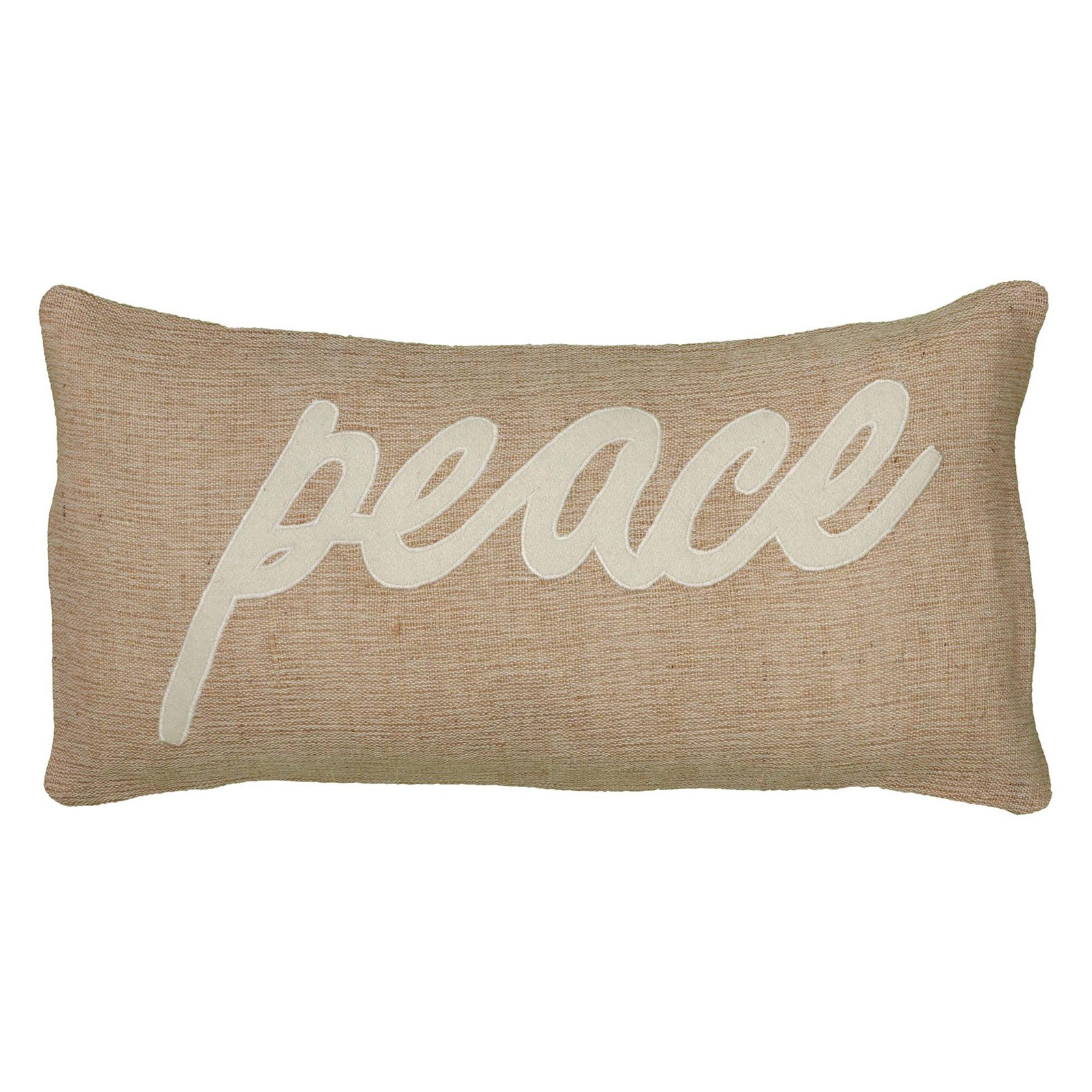 """Rizzy Home Decorative Poly Filled Throw Pillow """"Peace"""" 11""""X21"""" Natural"""