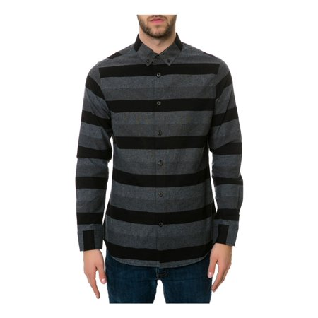 Rocawear Mens Tonal Stripe Button Up Shirt blk S