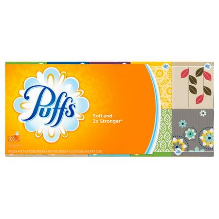 Puffs Basic Facial Tissues, White, 64 Sheets/Box, 10 Ct