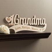 Number One Grandma Personalized Wood Plaque