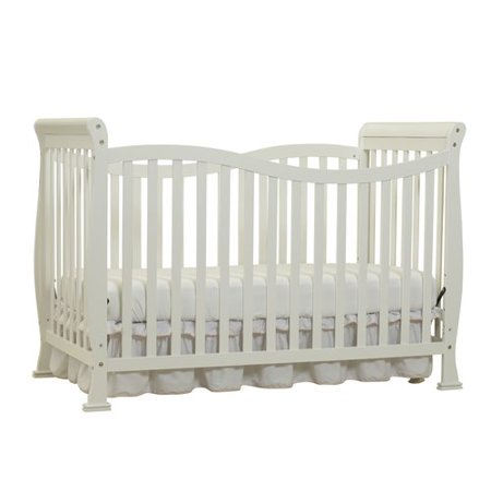 Big Oshi Jessica 7-in-1 Convertible Crib Frame - Modern, Unisex Wood Design for Boys or Girls - Adjustable Height, Low or High - Convertible to Crib, and Day, Toddler, Twin, or Full Bed, White