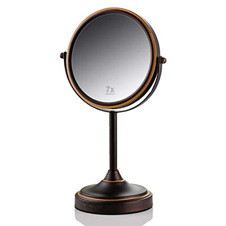 Ovente Tabletop Makeup Mirror, 7 Inch, Dual-Sided 1x/7x Magnification, Antique Bronze ( MNLCT70ABZ1X7X