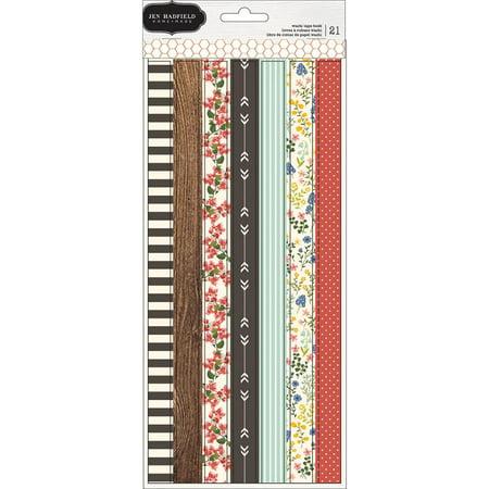 Jen Hadfield Simple Life Washi Tape Strip Sheets, 3pk