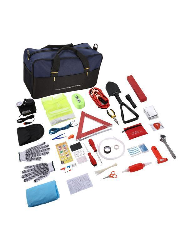 Tire inflator and More Functional Tire Repair Kit Roadside Assistance Auto Emergency Kit with Safety Triangle NoOne Car Emergency Kit First Aid Kit