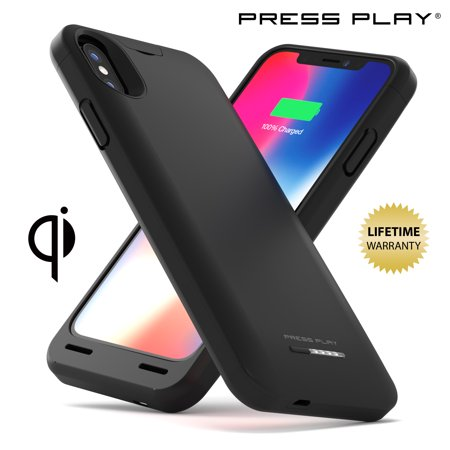 new product 74b56 4f410 iPhone X Battery Case (APPLE CERTIFIED) with Qi Wireless Charging PRESS  PLAY NERO iPhone 10 Portable Charger Slim Charging Case 4200mAh Extended ...