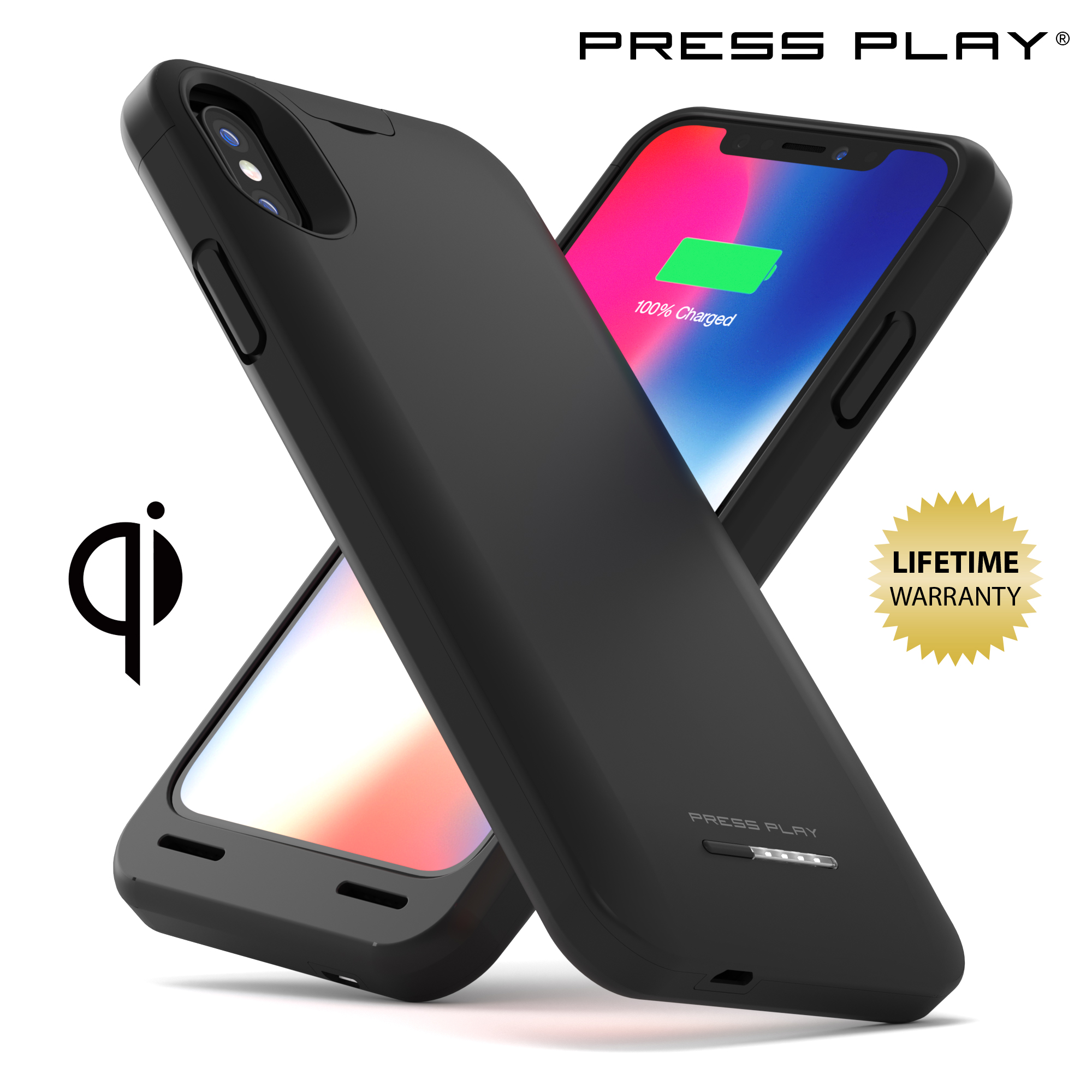 iPhone X Battery Case (APPLE CERTIFIED) with Qi Wireless Charging PRESS PLAY NERO iPhone 10 Portable Charger Slim Charging Case 4200mAh Extended Battery Pack Power Cases Juice Bank Cover (Black)