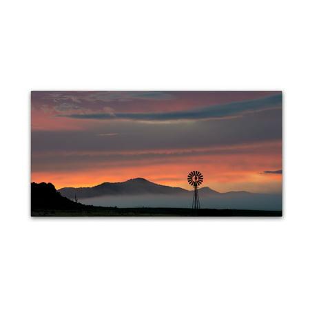 Orange Windmill - Trademark Fine Art 'Mountains and Windmill' Canvas Art by Dan Ballard