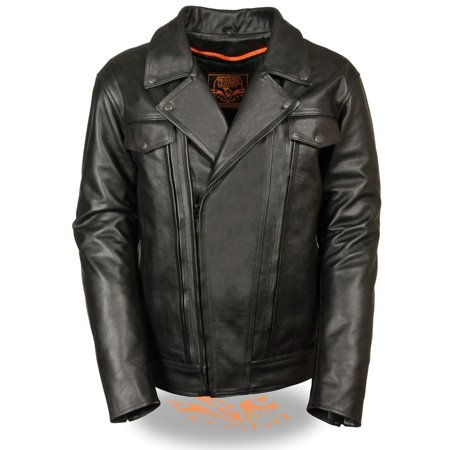 Milwaukee Leather Mens Pistol Pete Vented Black Leather Cruiser Jacket with Gun