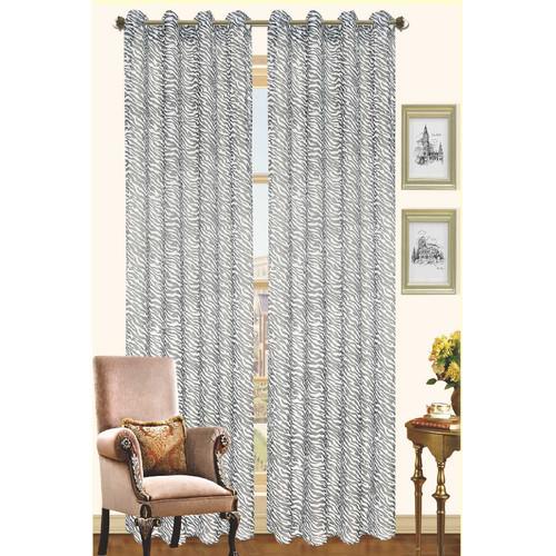 Kashi Home Gina Two Tone Zebra Print Grommet Top Single Curtain Panel