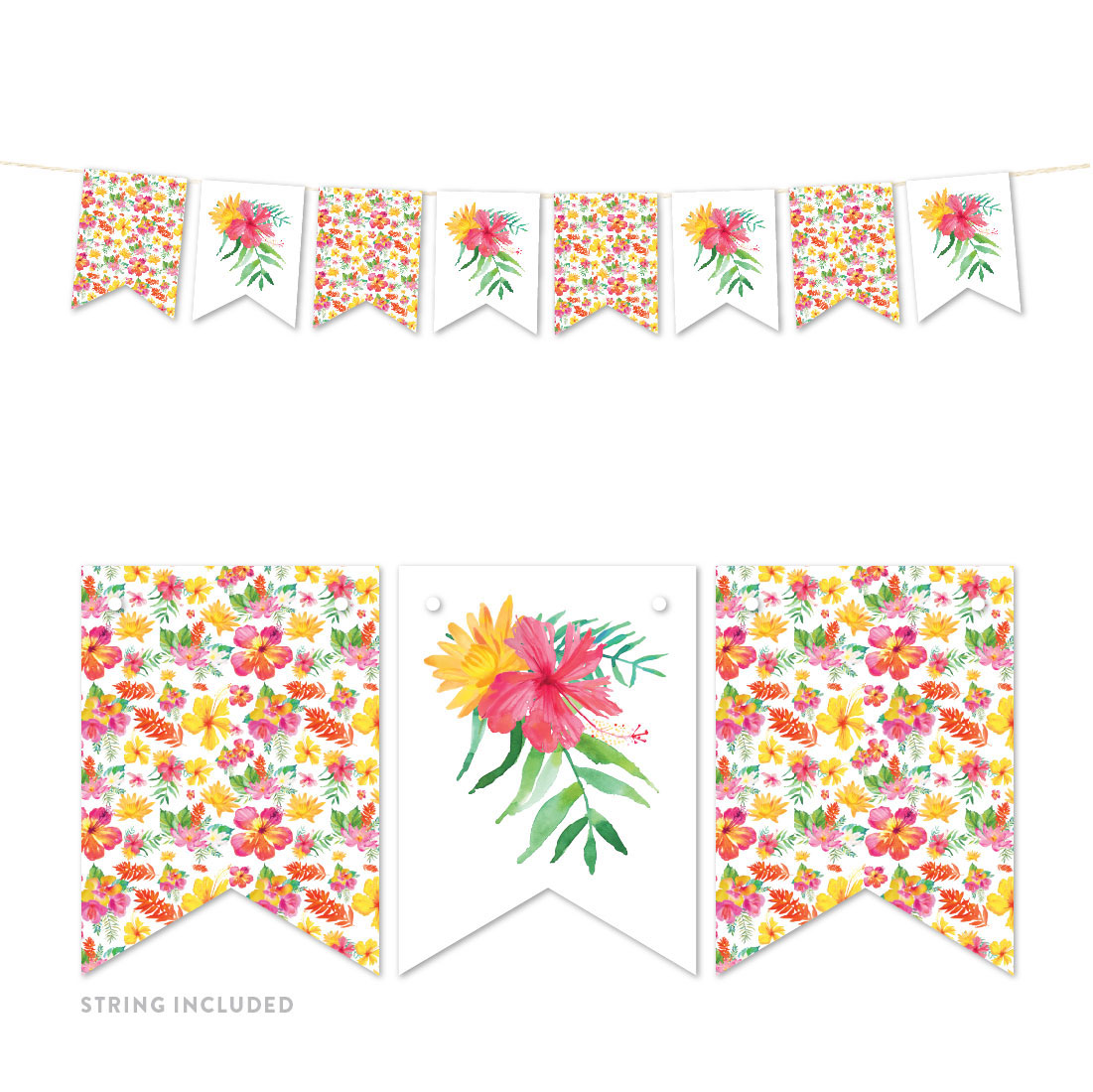 Tropical Floral Garden Party Wedding, Hanging Pennant Party Banner with String, Graphics Only