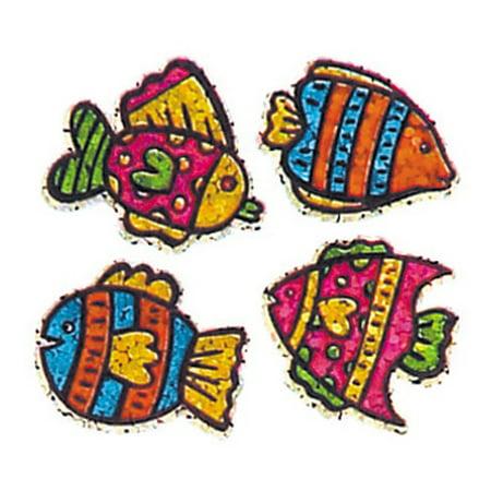 - Bulk Roll Prismatic Stickers, Four Mini Tropical Fish (100 Repeats)