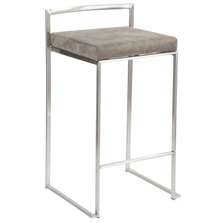 Fuji Contemporary Stackable Counter Stool in Stainless Steel with Stone Cowboy Fabric Cushion by LumiSource - Set of (Ronbow Stone Counter)