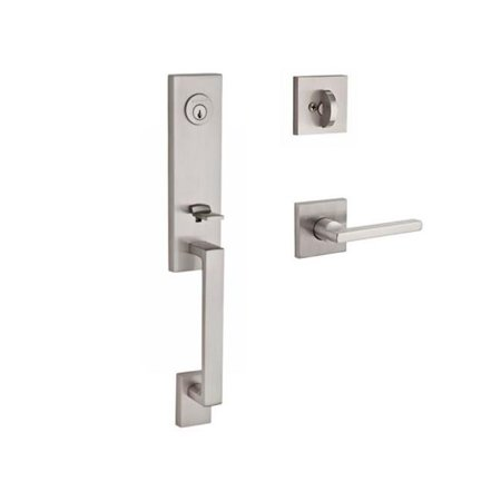 Baldwin SCSEAXSQULCSR150 Reserve Single Cylinder Handleset Seattle x Square with Contemporary Square Rose in Satin Nickel Finish Left (Baldwin 5025150idm Satin)