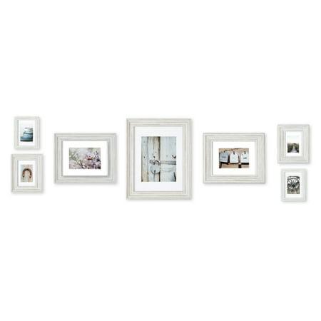 7 Piece Distressed White Mixed Profile Frame Kit ()