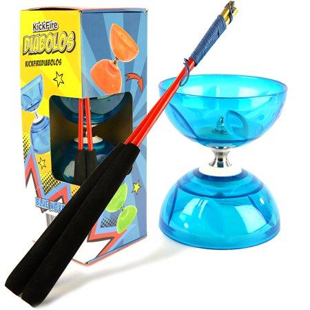 Kickfire Diabolos Blue Nova Chinese Yoyo Diabolo Set With Carbon Sticks And String
