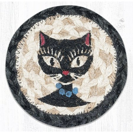 Beaded Coasters (CRAZY CATS Black Cat with Beads 100% Natural Braided Jute Coaster, Set of 4)