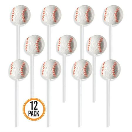 Prextex Baseball Lollipops - Kids Sports Ball Suckers for Birthday, Sports Event or Baseball Party Favor - Pack of 12 (1 Dozen)