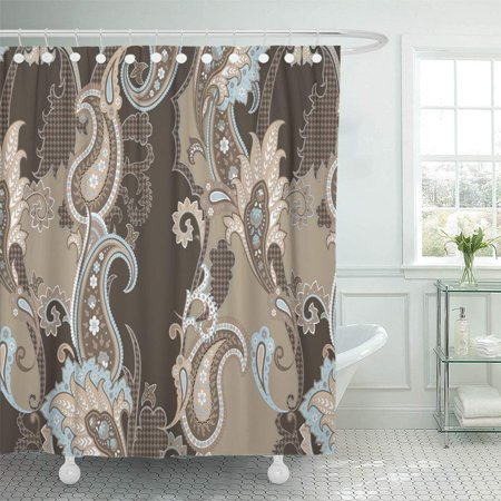 PKNMT White Folk Paisley Pattern in Beige Brown Peach and Light Blue Colors Beautiful Shower Curtain Bath Curtain 66x72 inch Brown Paisley Shower Curtain