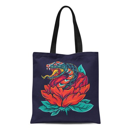 ASHLEIGH Canvas Tote Bag Cobra Colorful Old School Snake Flower Tattoo Skin Oldschool Reusable Shoulder Grocery Shopping Bags Handbag