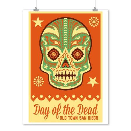 Old Town San Diego - Day of the Dead - Sugar Skull Mask - Lantern Press Artwork (9x12 Art Print, Wall Decor Travel Poster)