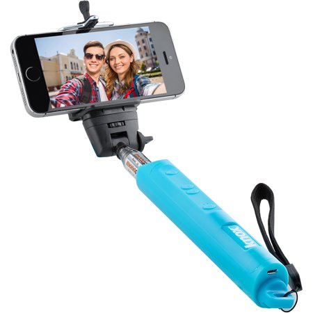 knox monopod selfie stick with bluetooth remote and zoom function blue wa. Black Bedroom Furniture Sets. Home Design Ideas