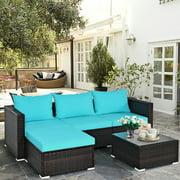 Costway 5PCS Patio Furniture Set Sectional Conversation Sofa Set w/ Coffee Table Blue