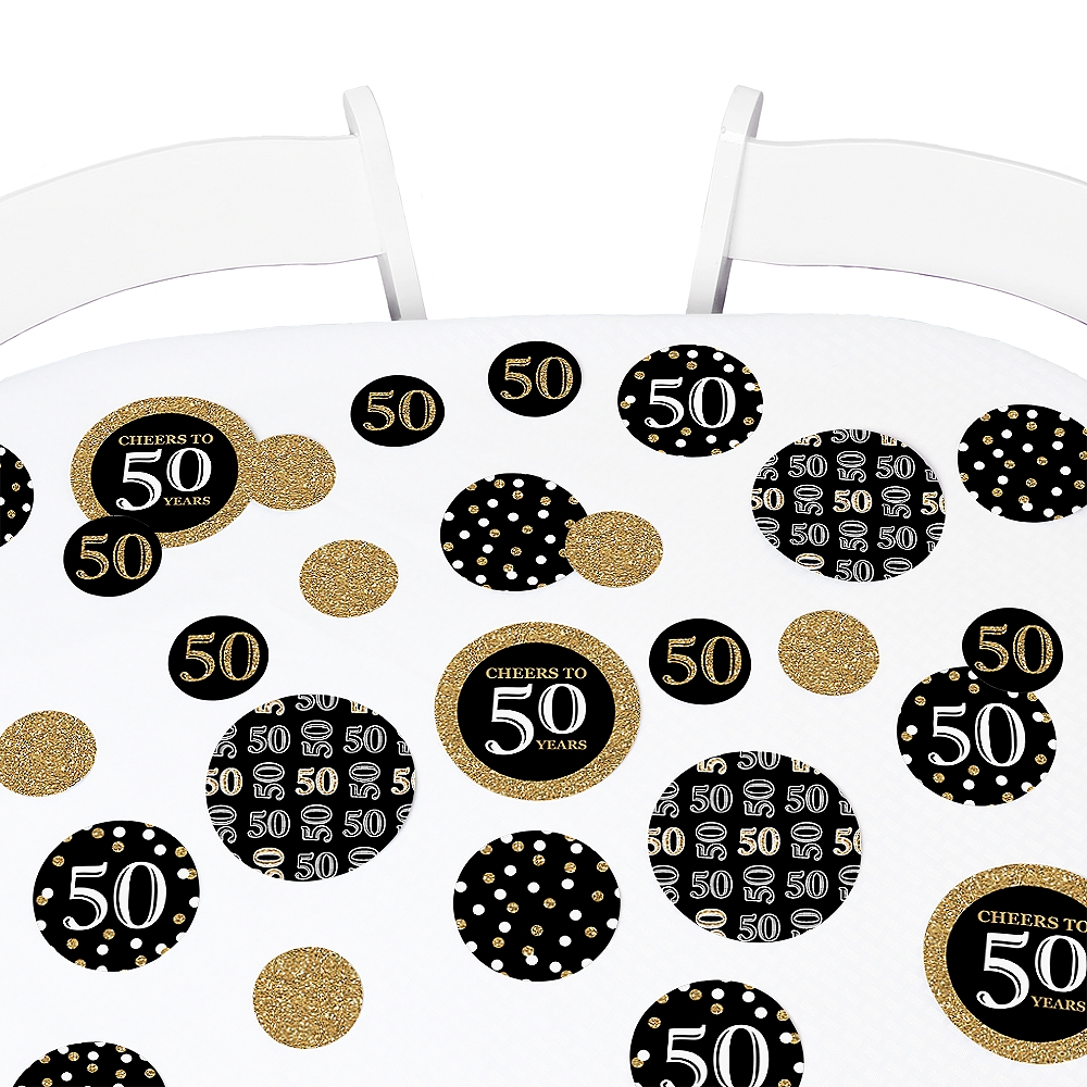 Adult 50th Birthday - Gold - Birthday Party Table Confetti Set - 27 Count