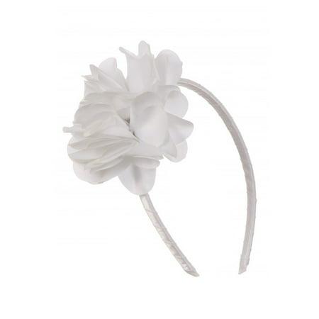 Kids Dream Girls White Satin Flowers - Girls Headband