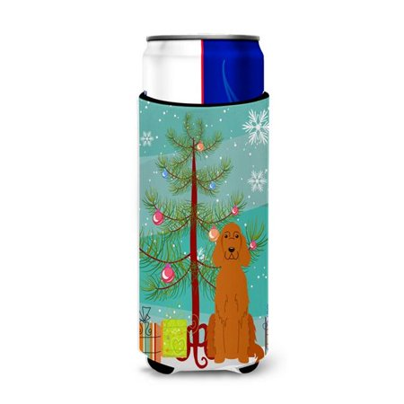 Merry Christmas Tree Irish Setter Michelob Ultra Hugger for Slim Cans