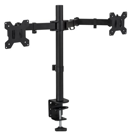 Mount-It! Dual Monitor Desk Stand Mount for Computer Monitors Two Arms Clamp, Fits up to 13 to 27 Inch Screens (MI-2752)