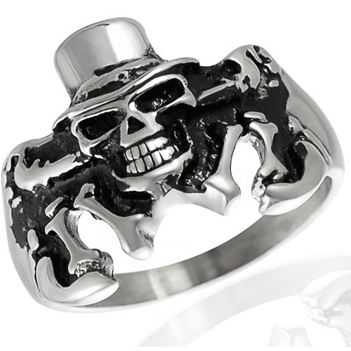 Daxx Men's Stainless Steel Skull Tux Hat Ring