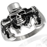 Daxx Men's Stainless Steel Skull Tux Hat