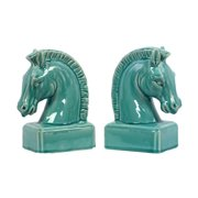 2-Pc Horse Head Bookend in Gloss Turquoise