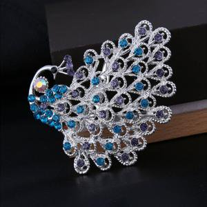 Crystal Religious Brooch - Fancyleo 1 Piece Gorgeous Bridesmaid Jewelry Clear Crystal Peacock Tail Bridal Wedding Women Brooch Pin
