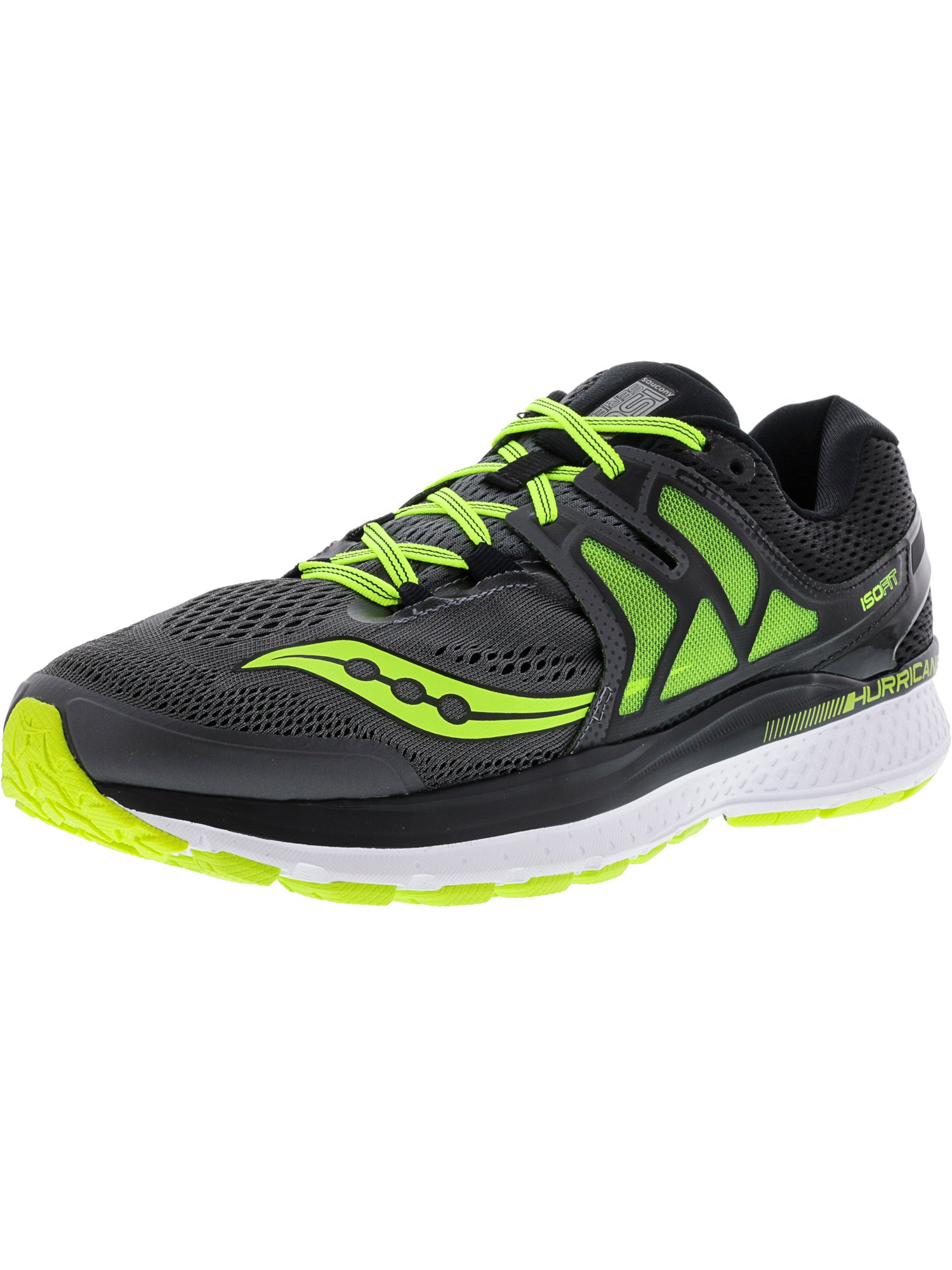 Saucony Men's Hurricane Iso 3 Grey   Black Cotton Ankle-High Running Shoe 10W by Saucony