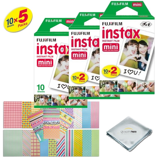 Fujifilm INSTAX Mini Instant Film 5 Pack 50 SHEETS (White) For Fujifilm Mini 8 Cameras Bundled with custom instax FRAME STICKERS and Quality Photo Microfiber Cloth for mini 8 lens